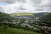 Landscape of Tonypandy Town lying in the Rhondda Fawr Valley, South Wales, UK. It is a former industrial coal mining town, best known as the site of the Tonypandy riots in 1910.