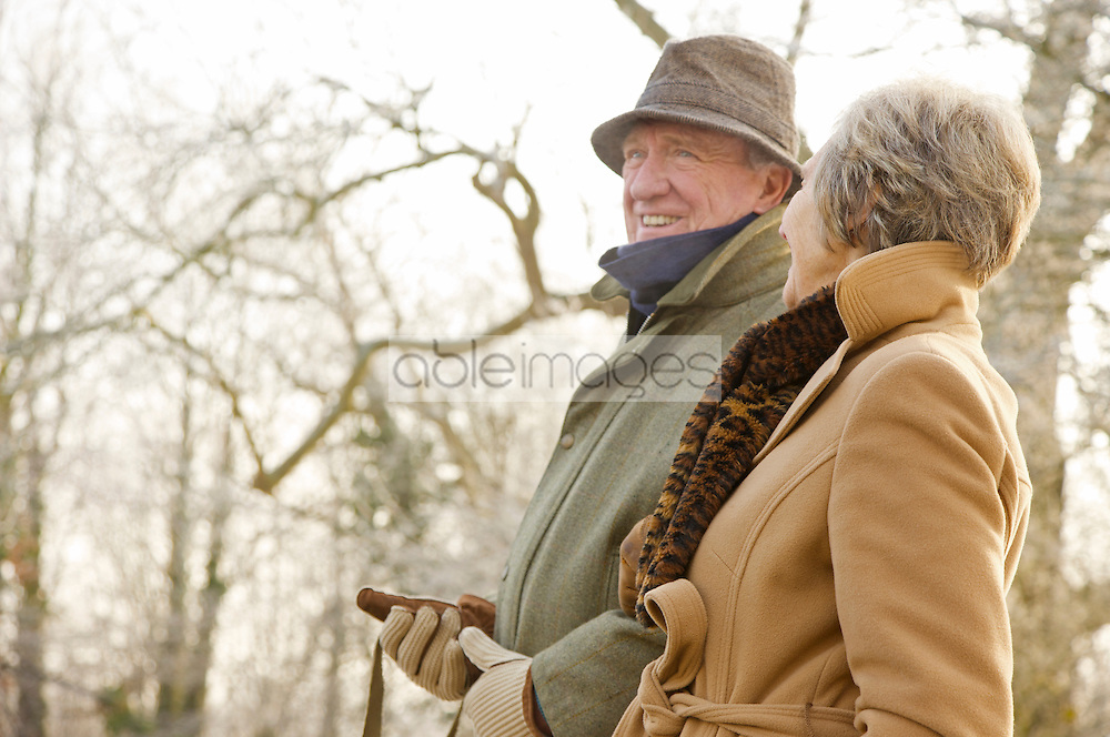 Close up of a mature couple walking in the park