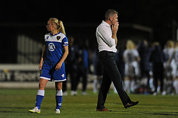 Bristol manager, Willie Kirk cuts a dejected figure - Mandatory byline: Dougie Allward/JMP - 07966386802 - 05/09/2015 - FOOTBALL - SGS Wise Campus -Bristol,England - Bristol Academy Womens v Birmingham City Ladies - FA Womens Super League