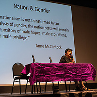 Indigenous feminist, Dr. Jennifer Nez Denetdale, talks about gender and privilege at the symposium at the El Morro Theatre, Friday.
