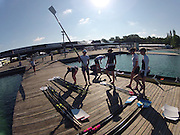 Munich, GERMANY,    General Views, GV's,  of the Boathouse and  Boating Area,  GBR *8+     Boating for their morning training outing. 2012 World Cup III on the Munich Olympic Rowing Course,  Thursday  14/06/2012  [Mandatory Credit Peter Spurrier/ Intersport Images]..