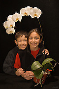 A spray of phaleanopsis orchid blossoms grown and bloomed by the photographer surround AJ (age 10) and LB (age 8).<br /> <br /> Phalaenopsis are also known as Moth Orchids and are native throughout southeast Asia from the Himalayan mountains to the islands of Polillo, Palawan and Zamboanga del Norte in the island of Mindanao in the Philippines and northern Australia.