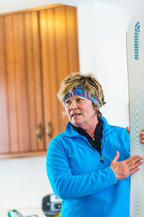 Michigan DNR Becoming an Outdoors Woman program instructor Frida Waara teaches nordic skiing at Bay Cliff Health Camp in Big Bay, Michigan.