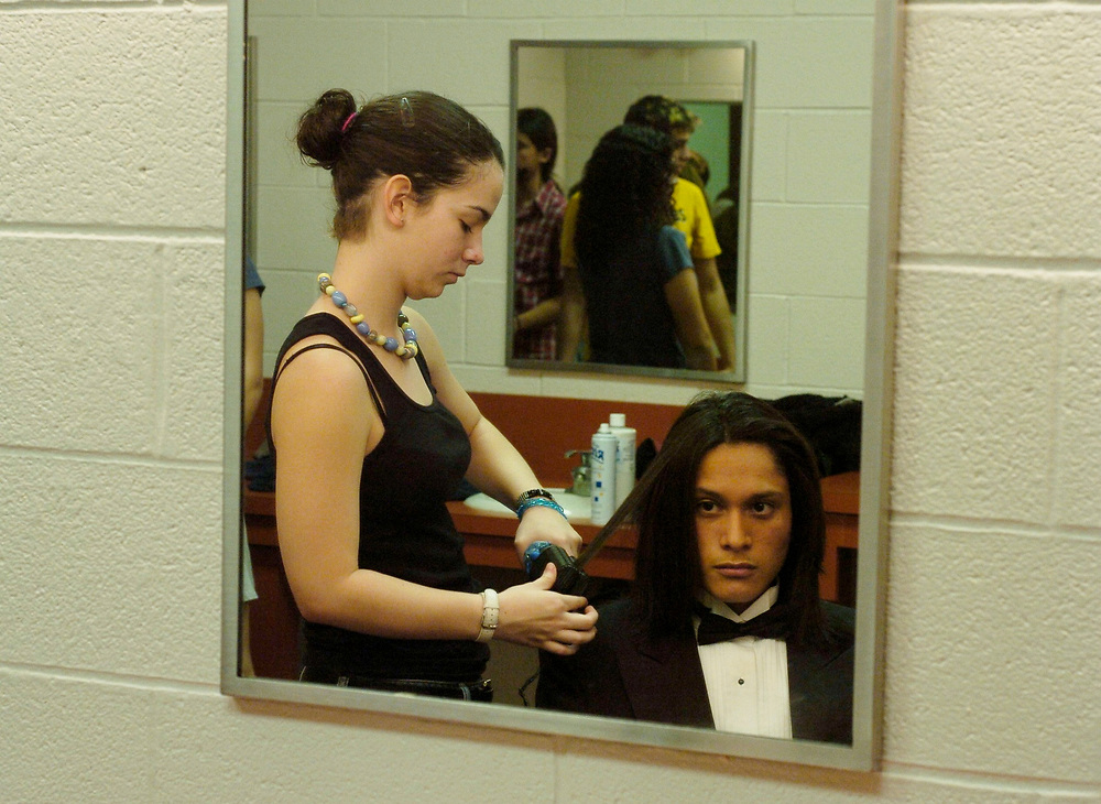 Brownsville, TX January, 2006:  Acting students prepare makeup and clothes for an Andrew Lloyd Webber retrospective show at the high school.  <br /> ©Bob Daemmrich/