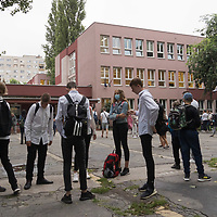 Students go to school in Budapest, Hungary on Sept. 1, 2020. ATTILA VOLGYI