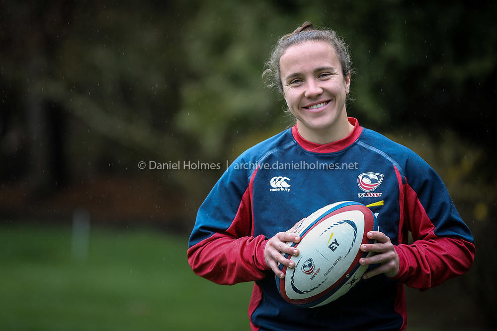 (4/24/20, FRANKLIN, MA) Kristi Kirshe poses for a photo at her home in Franklin on Friday. Kirshe was supposed to be playing for Team USA women's rugby in the Olympics this summer in Tokyo. [Daily News and Wicked Local Photo/Dan Holmes]