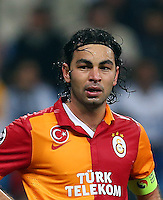 UEFA Champions League Quarter Final first leg match between Real Madrid and Galatasaray at Estadio Santiago Bernabeu on April 3, 2013 in Madrid, Spain.<br /> Pictured: Selcuk Inan and Dany Nounkeu (R) of Galatasaray.