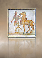 Roman geometric floor mosaic depicting Red Faction Charioteer and his horse from the Circus  from  a room of a villa  in the locality Baccano near the Via Cassia, Rome. Beginning of the 3rd century AD. National Roman Museum, Rome, Italy .<br /> <br /> If you prefer to buy from our ALAMY PHOTO LIBRARY  Collection visit : https://www.alamy.com/portfolio/paul-williams-funkystock/national-roman-museum-rome-mosaic.html <br /> <br /> Visit our ROMAN ART & HISTORIC SITES PHOTO COLLECTIONS for more photos to download or buy as wall art prints https://funkystock.photoshelter.com/gallery-collection/The-Romans-Art-Artefacts-Antiquities-Historic-Sites-Pictures-Images/C0000r2uLJJo9_s0