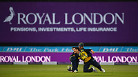 Cricket - 2021 Royal London 50-over Cup - Final - Glamrogan vs Durham - Trent Bridge<br /> <br /> Kiran Carlson of Glamorgan congratulated by Tom Cullen of Glamorgan as he catches Luke Doneathy of Durham.<br /> <br /> COLORSPORT/Ashley Western
