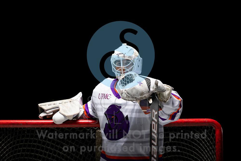 Youngstown Phantoms player photo shoot on April 14, 2021. <br /> <br /> Mattias Sholl, goalie, 32