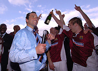 Photo: Ian Hebden.<br />Northampton Town v Chester City. Coca Cola League 2. 29/04/2006.<br />Northampton manager, Colin Calderwood (L) celebrates promotion with his players.