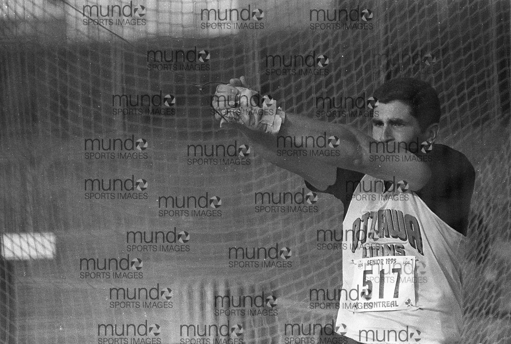 ******This is an unprocessed scan from the negative. You can buy it as is and clean it up yourself, or contact us for rates on providing the service for you. *******<br /> <br /> (Montreal, Canada --- 25 July 1995) James Fahie throwing hammer at the 1995 Canadian National Track and Field Championships held at the Complexe sportif Claude-Robillard in Montreal. Photo 1995 Copyright Sean Burges / Mundo Sport Images.<br /> <br /> ******This is an unprocessed scan from the negative. You can buy it as is and clean it up yourself, or contact us for rates on providing the service for you. *******