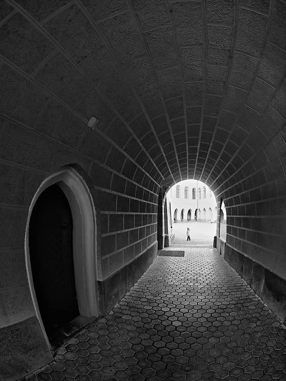 Orlik castle - Entrance BW