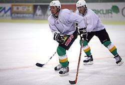 Matej Hocevar and Pasi Petrilainen at second ice hockey practice of HDD Tilia Olimpija on ice in the new season 2008/2009, on August 19, 2008 in Hala Tivoli, Ljubljana, Slovenia. (Photo by Vid Ponikvar / Sportal Images)