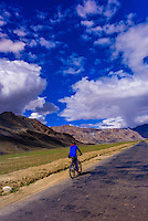 Bicycling at Sarchu (at 14,432 feet) along the so-called Leh-Menali Highway which is between the Baralacha La and Lachulung La Passes, near the boundary between Himachal Pradesh and Ladakh in India.