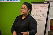 Jamaica, NY - 20 July 2017. Business plan presentations of the second cohort of the 12-week Jamaica FEASTS program at the Queens Public Library. Alexis Simmons presenting her plan for her cheese tasting business ItzCheeseTastic.