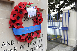 A wreath honouring former Bristol Rugby players is placed on the Memorial Gates at the Memorial Stadium - Mandatory byline: Dougie Allward/JMP - 07966 386802 - 11/11/2015 - Memorial Stadium - Bristol, England- Memorial Service