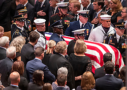 A military honor guard brings the casket of the late United States Senator John S. McCain, III (Republican of Arizona) to the Memorial service in his honor in the Washington National Cathedral in Washington, DC, USA on Saturday, September 1, 2018. Photo by Ron Sachs/CNP/ABACAPRESS.COM