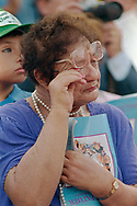 Pope John Paul II made his historic tour to the United States, September 10-18, 1987, visiting Miami, Florida; Columbia, SC; New Orleans, LA; San Antonio, TX, Phoenix, AZ, Los Angeles, CA; Monterrey, CA, San Francisco, CA, and Detroit, MI. <br /> <br /> Dodger stadium Los Angeles, CA