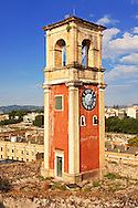 Clock tower of The old citadel [ ?????? ??????? ] Corfu City, Greek Ionian Islands .<br /> <br /> If you prefer to buy from our ALAMY PHOTO LIBRARY  Collection visit : https://www.alamy.com/portfolio/paul-williams-funkystock/corfugreece.html <br /> <br /> Visit our GREECE PHOTO COLLECTIONS for more photos to download or buy as wall art prints https://funkystock.photoshelter.com/gallery-collection/Pictures-Images-of-Greece-Photos-of-Greek-Historic-Landmark-Sites/C0000w6e8OkknEb8