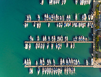 Aerial view of harbor with many private sailing boats in Lefkada ,Greece.