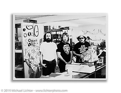 Father-in-law Richard Rego Sr., Steve Desmond, Arlen and his brother Kevin in the second store on 14th Street. San Leandro, CA.  ©1982 Ness Family Archive Photo