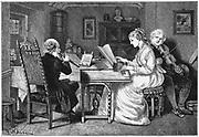 Making music.Woman at keyboard men playing violin and clarinet(?). Illustration by Francis Wilfrid Lawson. Wood engraving, London, 1874.