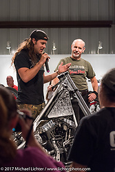 Custom builder Brad Gregory speaking at the Old Iron - Young Blood exhibition media and industry reception in the Motorcycles as Art gallery at the Buffalo Chip during the annual Sturgis Black Hills Motorcycle Rally. Sturgis, SD. USA. Sunday August 6, 2017. Photography ©2017 Michael Lichter.
