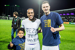 Marcos Morales Tavares #9 of NK Maribor with his son and Milivoje Novakovic #11 of NK Maribor celebrate after winning during football match between NK Celje and NK Maribor in Final of Slovenian Cup 2016, on May 25, 2016 in Stadium Bonifika, Koper, Slovenia. Photo by Vid Ponikvar / Sportida
