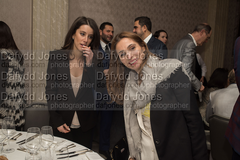 SARAH BEJERANO; LOUISE HAYWARD, Anish Kapoor and Lee Ufan preview dinner hosted by the Lisson Gallery after the opening on Bell St. The Connaught. London. 23 March 2015