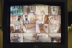 Security surveillance screen in hospital Maternity unit,