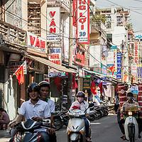 Motorcycle traffic in Hue, Vietnam.