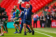 Chertsey Town Manager Dave Anderson celebrates at full time during the FA Vase final match between Chertsey Town and Cray Valley at Wembley Stadium, London, England on 19 May 2019.