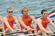 Bled, SLOVENIA,   NED M8+. move  away from the start, in their heat of the men's eights on the opening day, FISA World Cup, Bled venue, Lake Bled.  Friday  28/05/2010  [Mandatory Credit Peter Spurrier/ Intersport Images] Cop last event as international level.