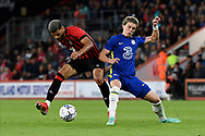 Dominic Solanke (9) of AFC Bournemouth battles for possession with Connor Gallager (27) of Chelseaduring the Pre-Season Friendly match between Bournemouth and Chelsea at the Vitality Stadium, Bournemouth, England on 27 July 2021.
