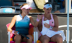 January 19, 2019 - Melbourne, AUSTRALIA - Kristina Mladenovic of France & Timea Babos of Hungary playing doubles at the 2019 Australian Open Grand Slam tennis tournament (Credit Image: © AFP7 via ZUMA Wire)