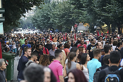 July 18, 2017 - Thessaloniki, Greece - Various leftist groups gathered in solidarity rally with the prisoners Irianna and Pericles following the decision of the Court of Appeal to reject the request to suspend the sentence, in Thessaloniki, Greece on July 18, 2017.. Actually Iriana, a young woman from Athens was accused to be part of a terrorist group called ''Cores of the fire'' (translated). Iriana did an appeal to the courts that was rejected. So all the anarchists-antifa--far leftists, left groups gathered to protest against the court decision showing their solidarity. About 1000 people protested. Police had many riot divisions but in a distance from the protesters trying not to provoke them as in Athens last night serious incidents happened. (Credit Image: © Nicolas Economou/NurPhoto via ZUMA Press)