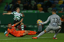 December 17, 2017 - Lisbon, Lisbon, Portugal - Sportings forward Daniel Podence from Portugal (L) and Portimonense's goalkeeper Ricardo Ferreira (R) during Premier League 2017/18 match between Sporting CP and Portimonense SC,.at Alvalade Stadium in Lisbon on December 17, 2017. (Credit Image: © Dpi/NurPhoto via ZUMA Press)