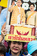 04 AUGUST 2013 - BANGKOK, THAILAND: A woman holds up a photo of Bhumibol Adulyadej, the King of Thailand, during an anti-government rally in Bangkok. The protesters are staunch supporters of the Thai King. About 2,000 people, members of the  People's Army against Thaksin Regime, a new anti-government group, protested in Lumpini Park in central Bangkok. The protest was peaceful but more militant protests are expected later in the week when the Parliament is expected to debate an amnesty bill which could allow Thaksin Shinawatra, the exiled former Prime Minister, to return to Thailand.     PHOTO BY JACK KURTZ