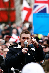 © under license to London News Pictures. 5/02/20011. Stephen Lennon (aka Tommy Robinson), the leader of the English Defence League, addresses a crowd. Thousands of EDL (English Defence League) members and supporters march through the town centre of Luton today (05/02/2011) to protest agains sharia Law. Photo Credit Should Read: Craig Shepheard / London News Pictures