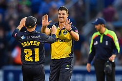 Marchant de Lange of Glamorgan celebrates after taking a wicket<br /> <br /> Photographer Craig Thomas/Replay Images<br /> <br /> Vitality Blast T20 - Round 4 - Glamorgan v Middlesex - Friday 26th July 2019 - Sophia Gardens - Cardiff<br /> <br /> World Copyright © Replay Images . All rights reserved. info@replayimages.co.uk - http://replayimages.co.uk
