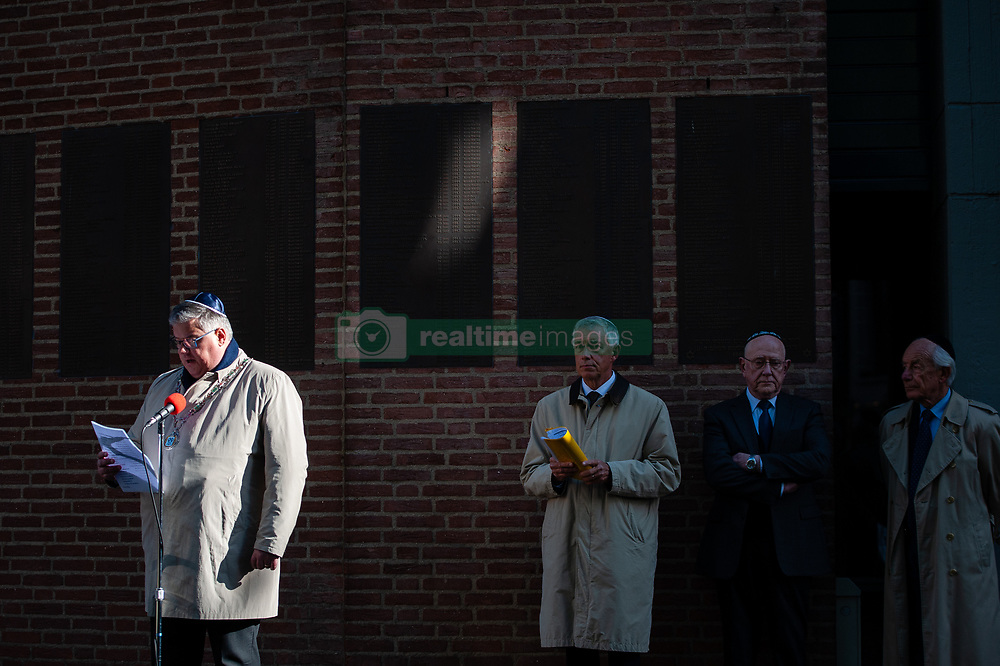 May 4, 2019 - Nijmegen, Gelderland, Netherlands - Mayor of Nijmegen Hubert Bruls is seen giving a speech duirng the ceremony of the Jews who died during the WWII..Remembrance day celebrations of the victims of WWII in Nijmegen was held with several ceremonies, including: unveiling a plaque with an honorary list of the fallen soldiers of WWII on Plein 1944 square, After that, the commemorations took place at the ''Kitty de Wijze'', Then from St. Stephen's Church a silent procession on the streets of ''Keizer Traianusplein'', where two monuments of the victims of WWII stand. (Credit Image: © Ana Fernandez/SOPA Images via ZUMA Wire)