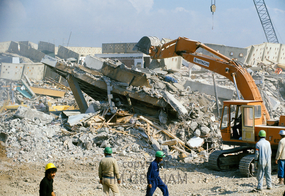 Rescue work in Algiers after earthquake disaster in Algeria,  October 1980