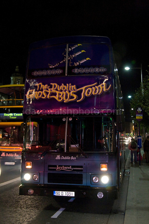 The Dublin Ghost Bus Tour - the world's only ghostbus, takes tourists on frightening rides through Dublin's past, to graveyards and haunted steps and more...