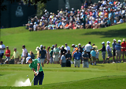 Jordan Spieth hits from a sand trap along the 18th fairway during first round action of the PGA Championship at Quail Hollow Club Thursday, Aug. 10, 2017 in Charlotte, N.C. (Photo by Jeff Siner/Charlotte Observer/TNS/Sipa USA)  *** Please Use Credit from Credit Field ***