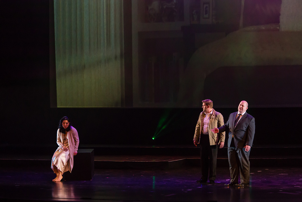 Karen Chila-Ling Ho as Violetta, Alex Richardson as Alfredo, and Robert Kerr as Giorgio Germont in Verdi'a La Traviata in the Philharmonia Orchestra's production at the Rose Theater at Jazz at Lincoln Center.