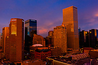 Cityscape of Downtown Denver at sunset, Colorado USA. On the right side is the Republic Plaza Building, currently the tallest building in Denver.