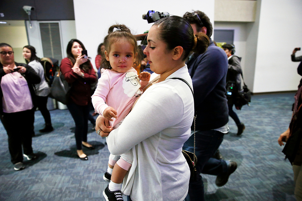 Sindy Flores is reunited with her daughter Juliet on Tuesday, Jan. 29, 2019, in San Francisco, Calif. The Honduran mother is pursuing her asylum claim in San Francisco. Her one-year-old daughter Juliet was held at a Texas shelter for a month, when she was separated from her father attempting to cross the U.S.-Mexico border.