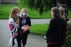 Lochgelly High School Exam results<br /> <br /> Shirley-Anne Somerville with Lochgelly Head teacher Debbie Aitkin and some of the students<br /> <br /> (c) David Wardle | Edinburgh Elite media