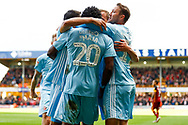 Sunderland celebrate Josh Maja (20) who scores a goal and make the score 0-1 during the EFL Sky Bet League 1 match between Bradford City and Sunderland at the Northern Commercials Stadium, Bradford, England on 6 October 2018.